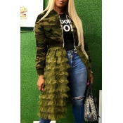 Lovely Sweet Camouflage Printed Patchwork Army Green Coat