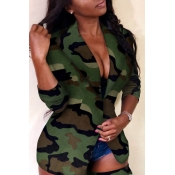 Lovely Casual Camouflage Printed Green Blazer