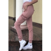 Lovely Casual Flounce Patchwork Pink Pants
