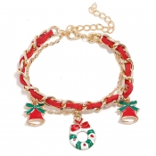 Lovely Christmas Day Patchwork Red Alloy Bracelet