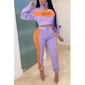 Lovely Casual Patchwork Purple Two-piece Pants Set