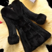 Lovely Casual Patchwork Black Long Coat