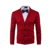 Lovely Chic Buttons Design Red Cardigan(Without Sh