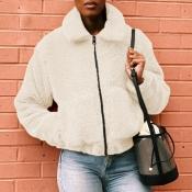 Lovely Casual Basic Zipper Design White Coat