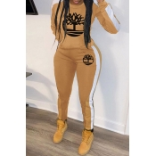 Lovely Casual Hooded Collar Printed Yellow Two-piece Pants Set