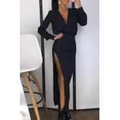 Lovely Chic Side High Slit Black Ankle Length Dres