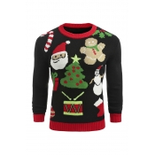Lovely Christmas Day Printed Black Sweater