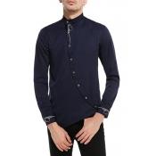 Lovely Casual Mandarin Collar Navy Blue Shirt