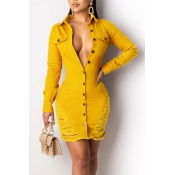 Lovely Trendy Turndown Collar Buttons Design Yellow Mini Dress