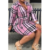 Lovely Casual Plaid Printed Pink Plus Size Mini Dr