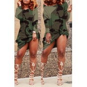 Lovely Casual Camouflage Printed Green Knee Length