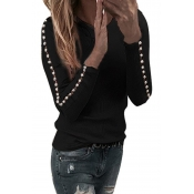 Lovely Leisure O Neck Nail Bead Design Black Sweat