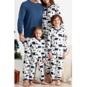 Lovely Family Printed White Mother Two-piece Pants