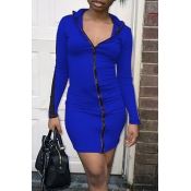 Lovely Casual Zipper Design Blue Mini Dress