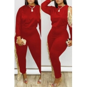 Lovely Party Tassel Design Red Two-piece Pants Set