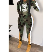 Lovely Casual Hooded Collar Camouflage Printed Green Two-piece Pants Set
