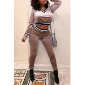 Lovely Casual V Neck Pink Two-piece Pants Set