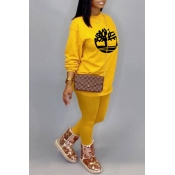 Lovely Casual O Neck Printed Yellow Two-piece Pants Set
