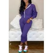 Lovely Casual Zipper Design Purple Two-piece Pants Set