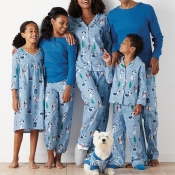 Lovely Family Printed Blue Mother Two-piece Pants