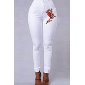 Lovely Casual Embroidery Design White Jeans