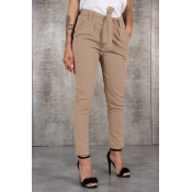 Lovely Casual Drawstring Khaki Pants(With Belt)