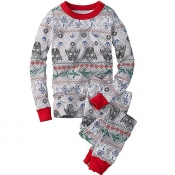 Lovely Family Printed Grey Girls Two-piece Pants S