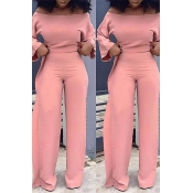 Lovely Leisure Loose Flounce Design Pink One-piece