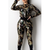 Lovely Party Camouflage Printed Two-piece Pants Se