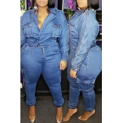 Lovely Casual Pocket Patched Blue Plus Size One-piece Jumpsuit