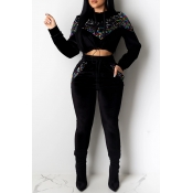 Lovely Casual Hooded Collar Patchwork Black Two-piece Pants Set