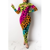 Lovely Party Leopard Printed Multicolor Ankle Length Dress