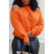 Lovely Cross-over Design Sweater Casual Orange Siz