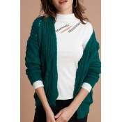 Lovely Casual Hollowed-out Green Cardigan Sweater