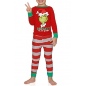Lovely Family Santa Claus Red Kids Two-piece Pants