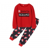 Lovely Family Letter Printed Red Kids Two-piece Pa
