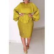 Lovely Casual O Neck Ruffle Design Yellow Knee Len