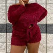 Lovely Casual Knot Design Wine Red Plus Size Two-p