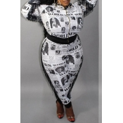 Lovely Casual Letter Printed Black Plus Size Two-p
