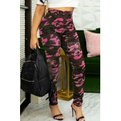 Lovely Casual Camouflage Printed Rose Red Jeans