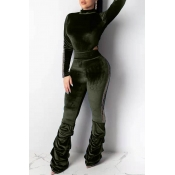 Lovely Trendy Hollow-out Green Two-piece Pants Set