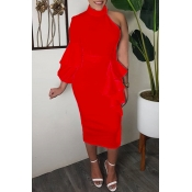 Lovely Sweet Turtleneck Dew Shoulder Flounce Red Mid Calf Dress