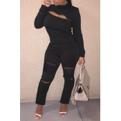Lovely Trendy Zipper Design Black Two-piece Pants