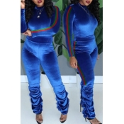 Lovely Trendy Ruffle Design Blue Two-piece Pants S