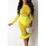 Lovely Party See-through Yellow Knee Length Prom D