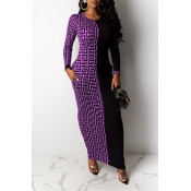 Lovely Casual Patchwork Purple Ankle Length Dress