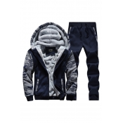 Lovely Sportswear Patchwork Deep Blue Two-piece Pa