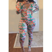 Lovely Christmas Day Printed Red One-piece Jumpsui