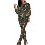 Lovely Casual Camouflage Printed Green Two-piece P