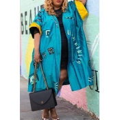 Lovely Casual Printed Blue Plus Size Coat